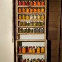 "Canning Shelf for 3341 Burnside,  2012, wood, jars and  vegetables, 30"" x 11"" x 86"". Collaborative piece with Patrick Costello. Photo: PD Rearick"