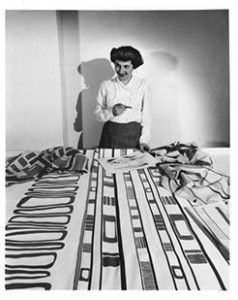 "Ruth Adler Schnee with ""Slits and Slats,"" 1947."