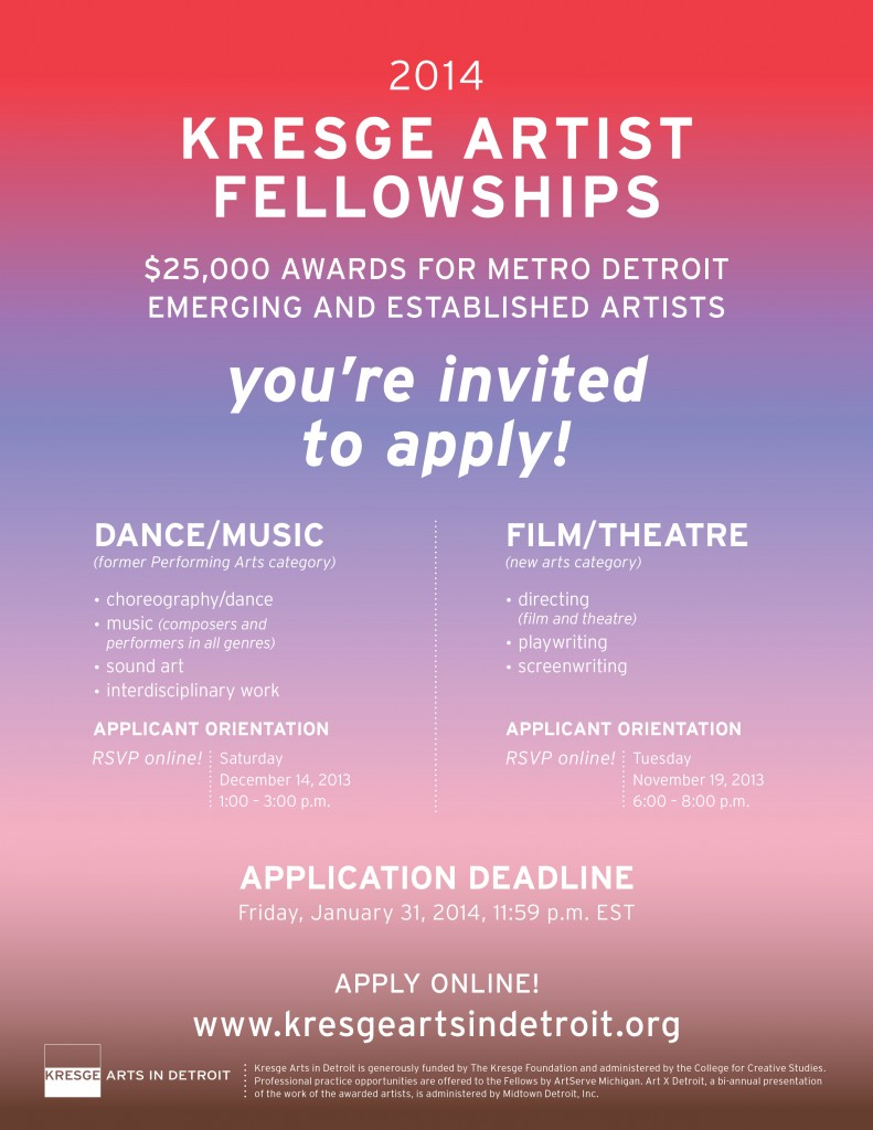 2014 Kresge Artist Fellowship Applications Are Now Available!