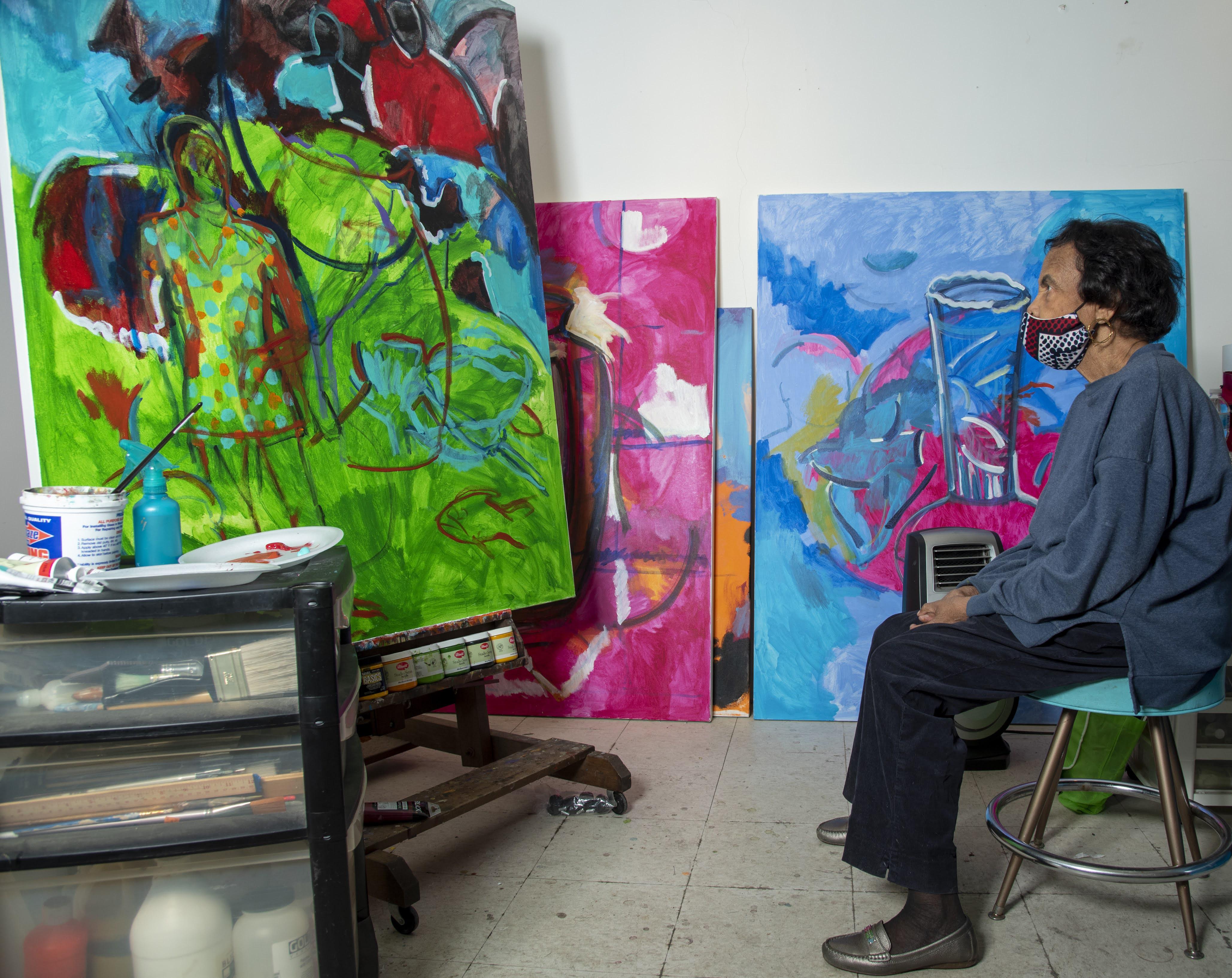 Shirley Woodson working in her Detroit studio